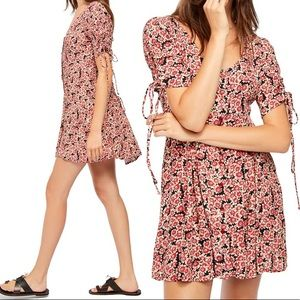 Free People Floral Lace Up Mini Dress